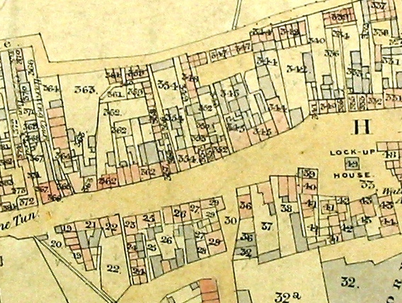 Tithe map, drawn by hand & water-coloured; this section shows the One Tun Inn and to the east including Ferry Square