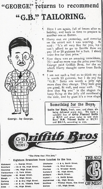 1927 advert including a caricature of 'George'