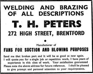 1940 trade directory advert for T.H. Peters: welding and brazing of all descriptions