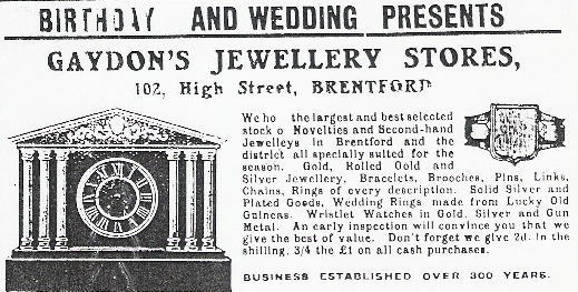Advert for Gaydon's Jewellery Stores