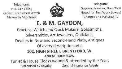 Advert for E & M Gaydon, 102 High Street Brentford