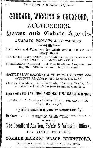 Advert: 'Goddard, Wiggins and Croxford, auctioneers, house and estate agents, licensed brokers and appraisers' (etc)