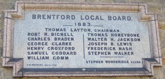 Wall plaque 'Brentford Local Board 1883' with names