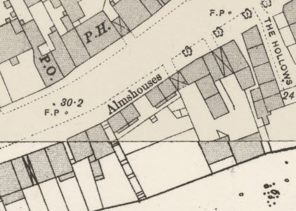 OS map 1893 showing almshouses