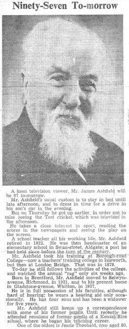 Newspaper piece 'Ninety-Seven To-morrow' including photo of James Ashfield