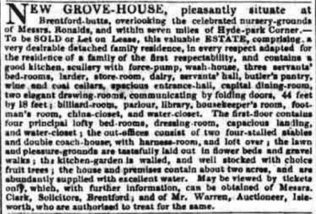 New Grove House sale ad
