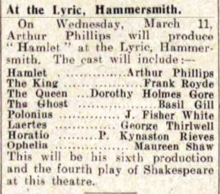 Cast list from The Stage