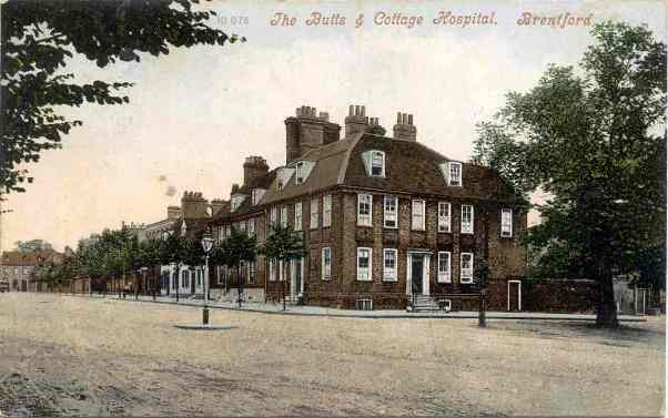 Tinted postcard 'The Butts and Cottage Hospital Brentford'