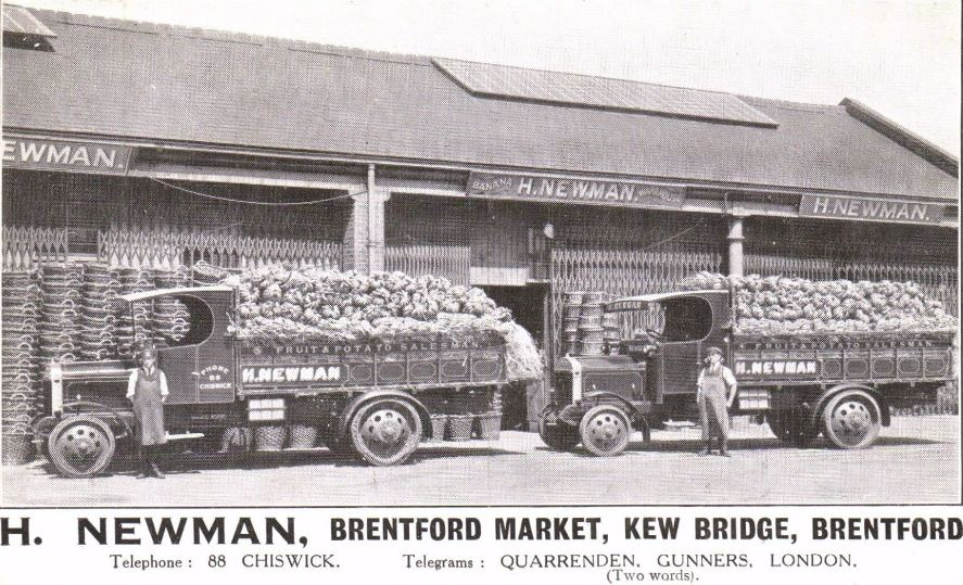 Banana warehouse and two Newman lorries