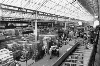 Interior of the market building, probably late 1960s or early 1970s; image provided by Chiswick Public Library