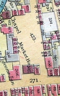 Part of New Brentford Tithe map, 1838, showing the Market House and place (the High Street is ref 271)