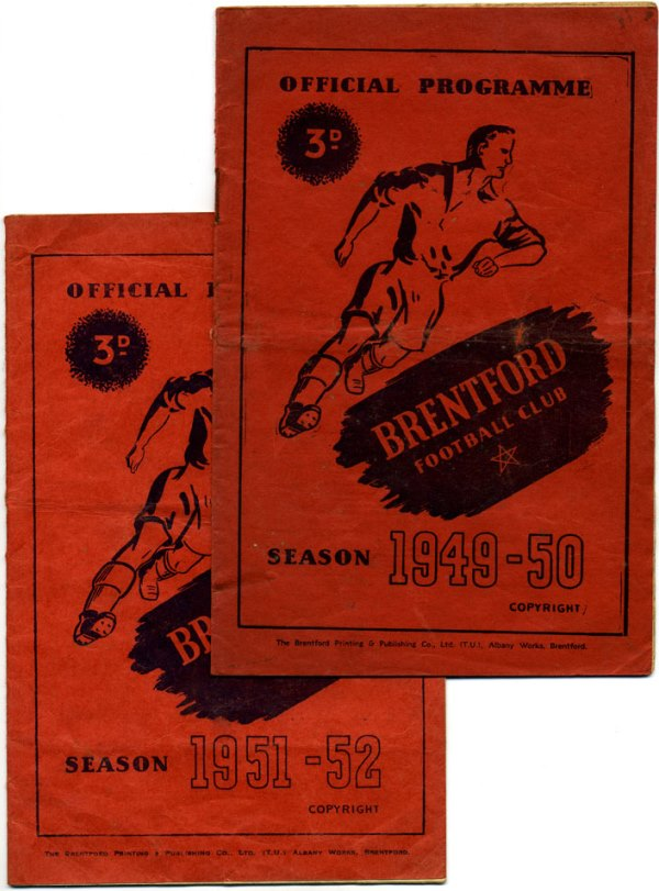 Two BFC programme covers each with the same image of a footballer, dark orange background
