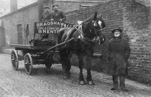 Horse and cart 'Bradshaw and Co., Coal and Corn Merchants, Brentford'