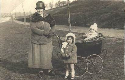 Emily Alice Beardsworth with baby in pram and another youngster