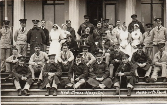 Soldiers and staff at Hanworth Park