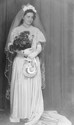 Portrait of Ena in her wedding dress