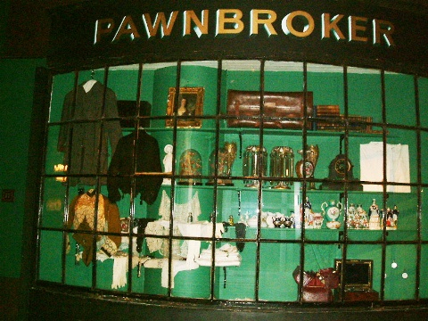 'Pawnbroker' shop front with bow windows