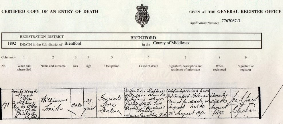 Death certificate of William Smith