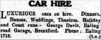 Car hire advert, 1940