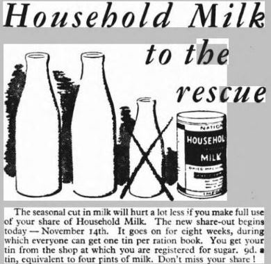 Household milk, advert in Sunday Mirror, 14 November 1943